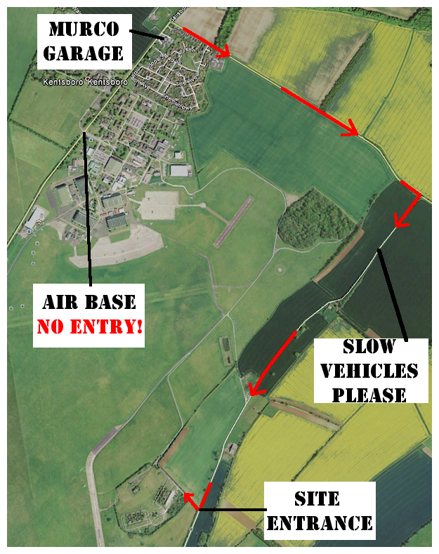 Follow RED Arrows to Site Entrance